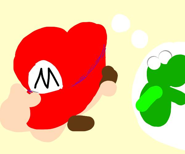 mario eating mushrooms and thinkin bout yoshi