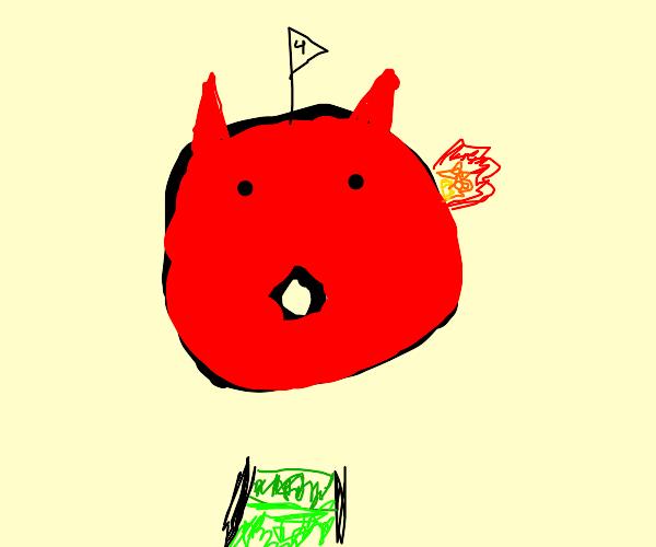 giant firey devil face golf hole
