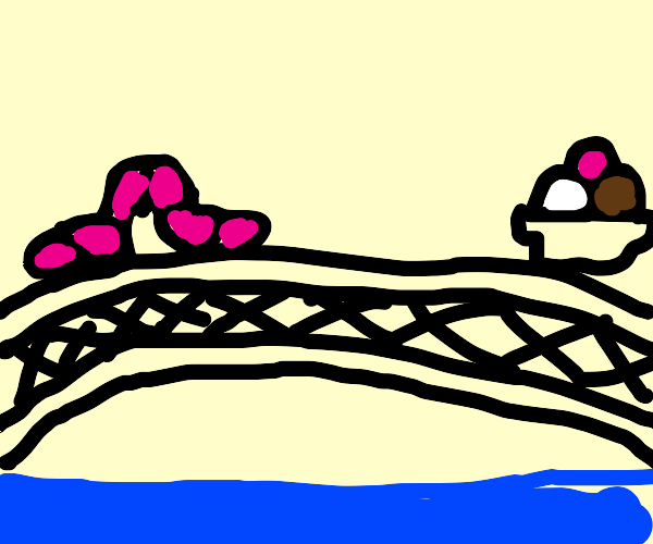 Worm crossing a bridge to get to the ice-crea