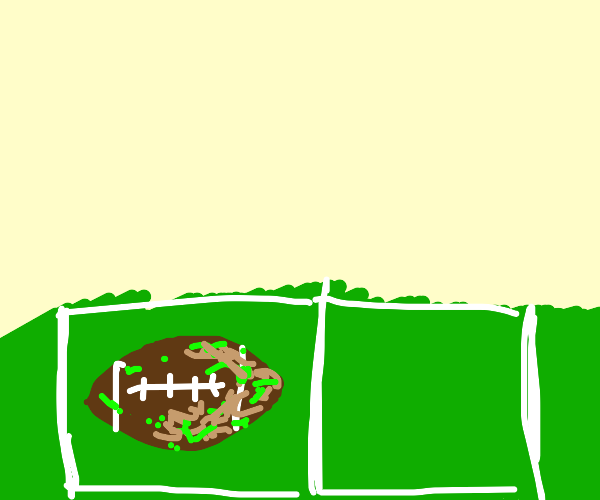 Dusty abandoned football on the field