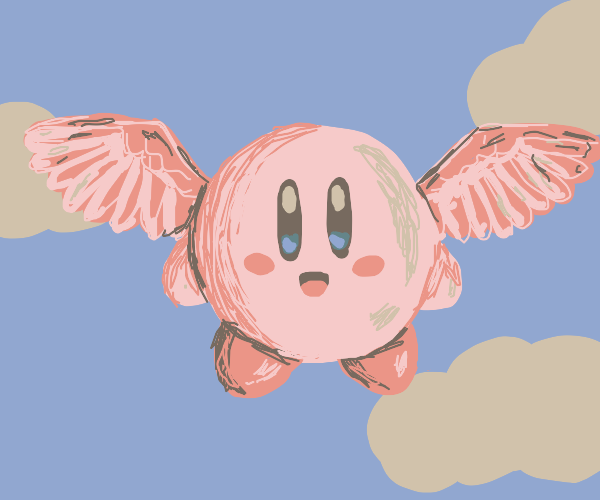 kirby flying with pink bird wings