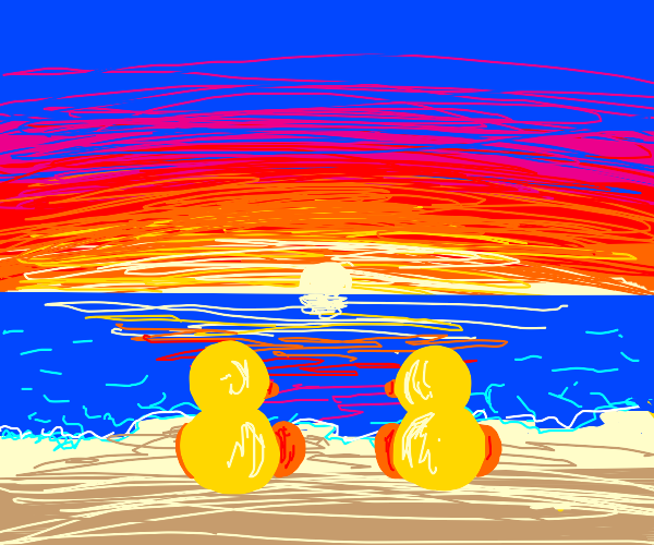 Ducks watching the sun set over a lake