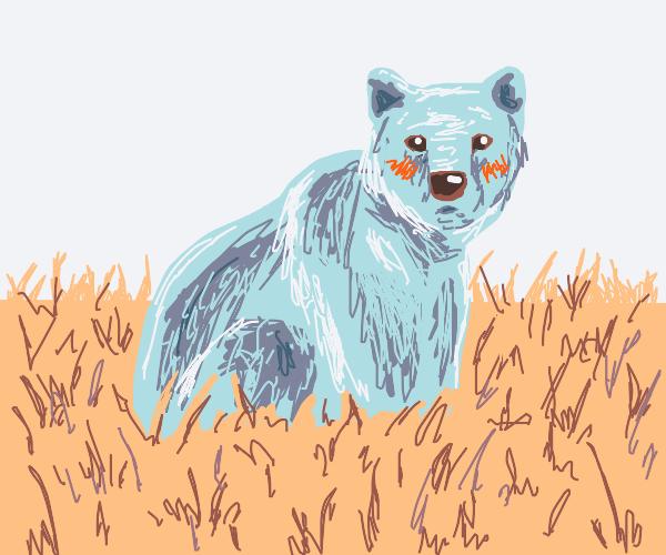 Blue cute fluffy bear