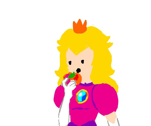 Princess Peach eats the fruit Peach