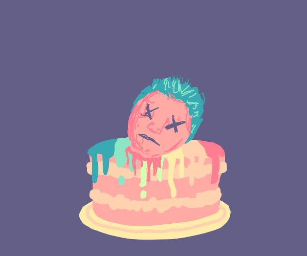 Rainbow cake with a human head
