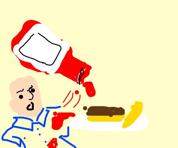 spilling ketchup