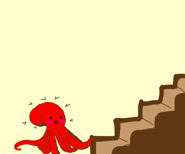 Octopus is very excited to climb stairs!