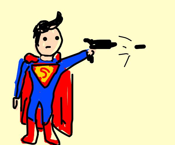 Superman fires a gun