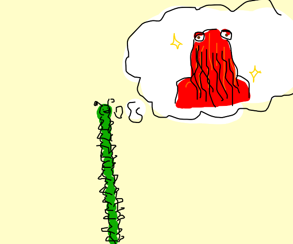 Green centipede thinking about red thing