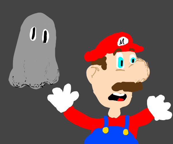 Mario is scared of ghosts