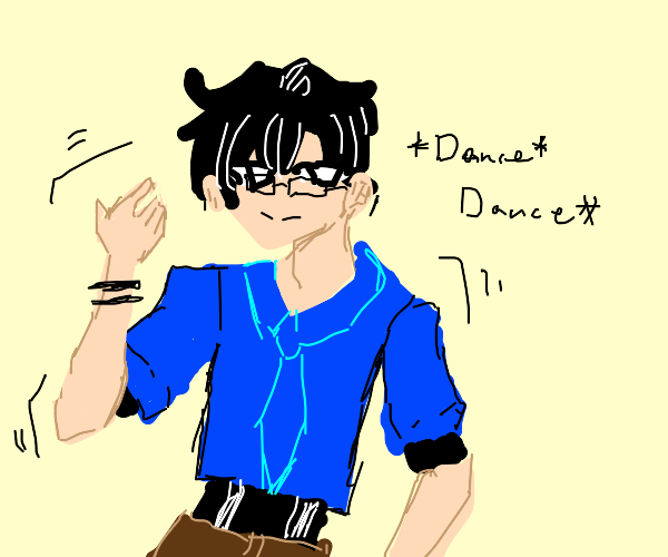 guy in glasses and blue shirt dancing