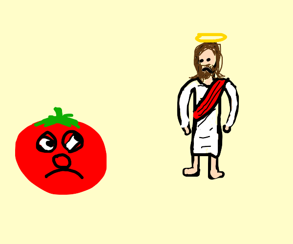 the tomato from veggie tales is mad at jesus