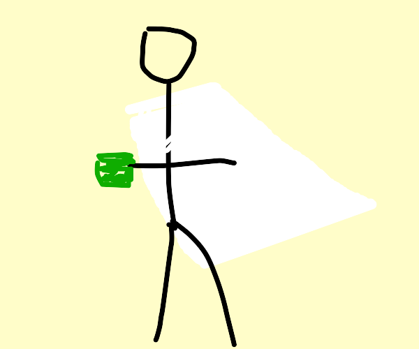 Stickman in white cape carrying green paste