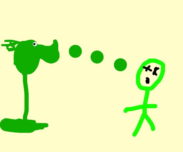 Peashooter kills a green guy