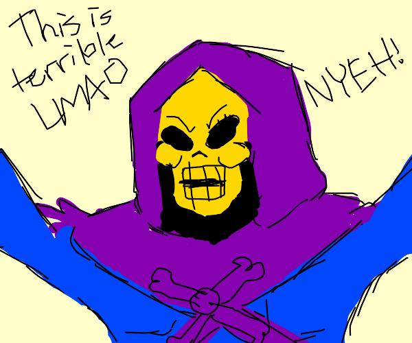 Skeletor, raising arms, laughing maniacally
