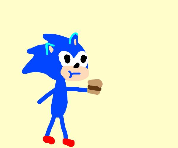 sonic eats a burger