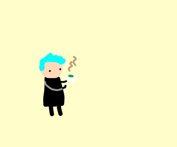 Ninja drinks tea