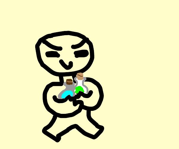 man steals the special fluids