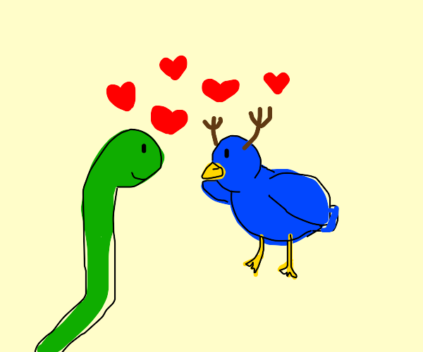 snake and bird with antlers in love