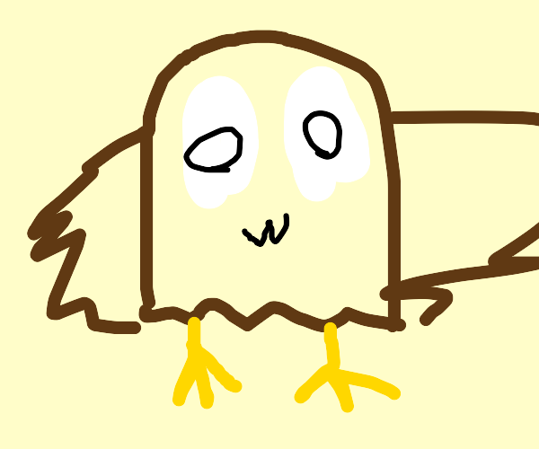 an owl with a owo face