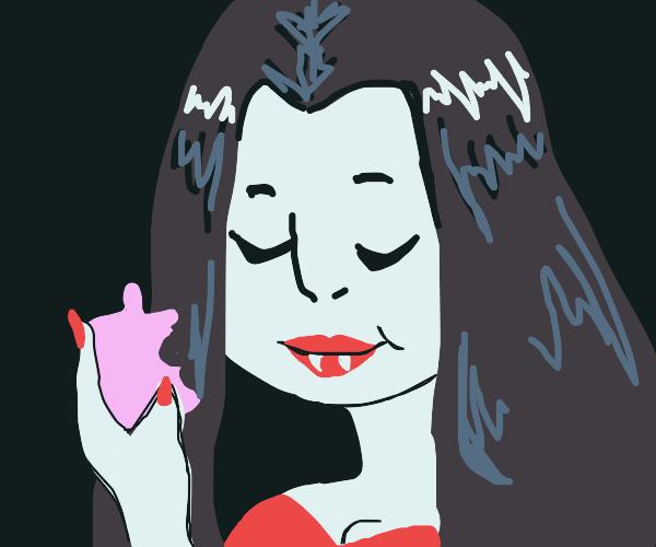 Vampire woman eats garlic