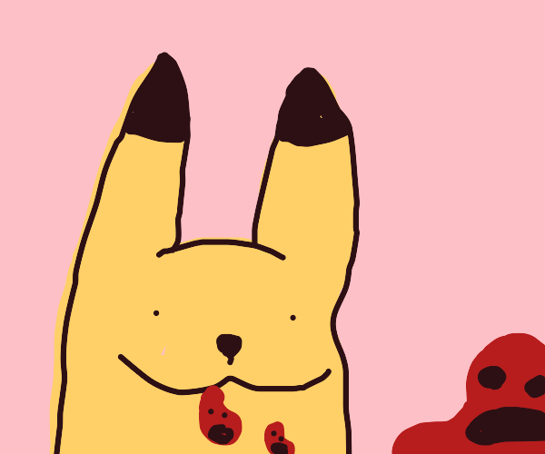 Pikachu is happy eating beans :)