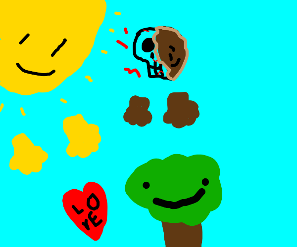 Guy making love to the sun and a smiling tree