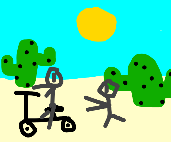 Man rides bike & woman jogs in desert.