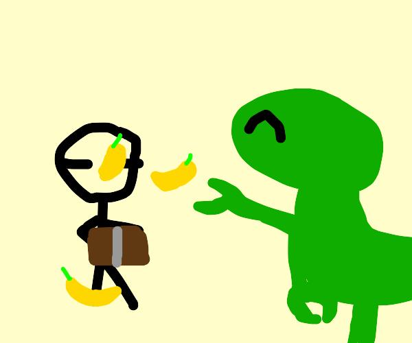 Velociraptor throws bananas at studying kid