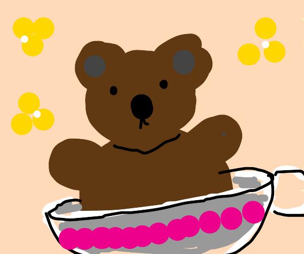 teddy bear in a teacup