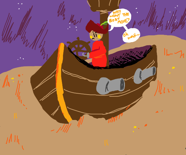 Pirate sailing on land