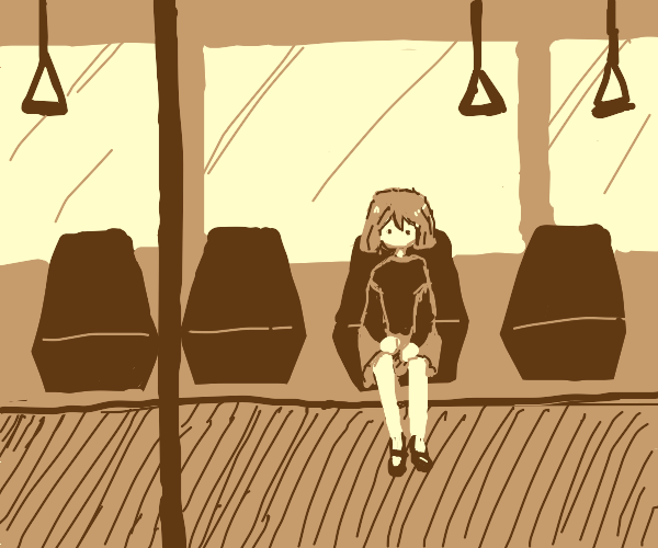 girl sit on the train
