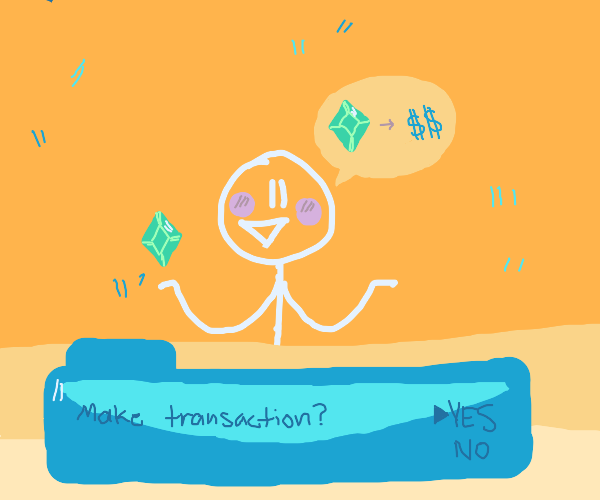 stickman wants to sell gem for money