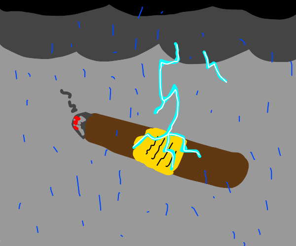 Giant cigar struck by lightening