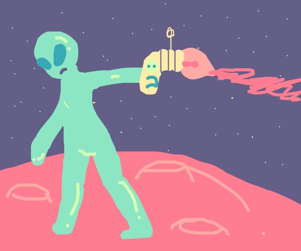 Alien shoots ray gun on Mars
