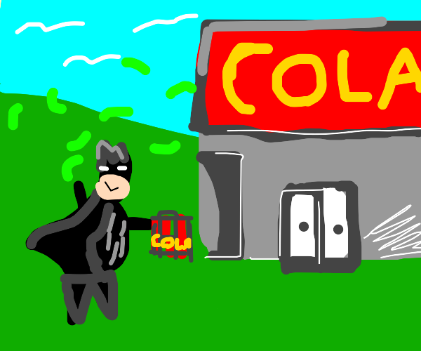Superhero stops by store to buy a 6pack cola