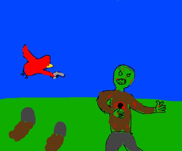 zombie killed by red bird