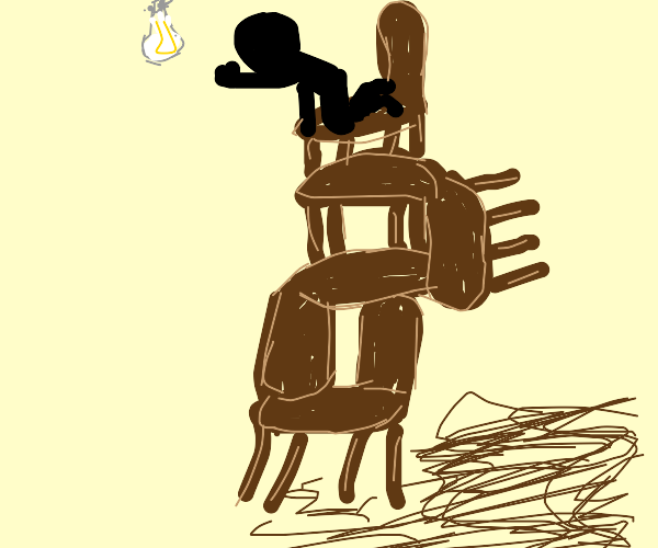 Guy on 4 chairs trying to reach the lightbulb