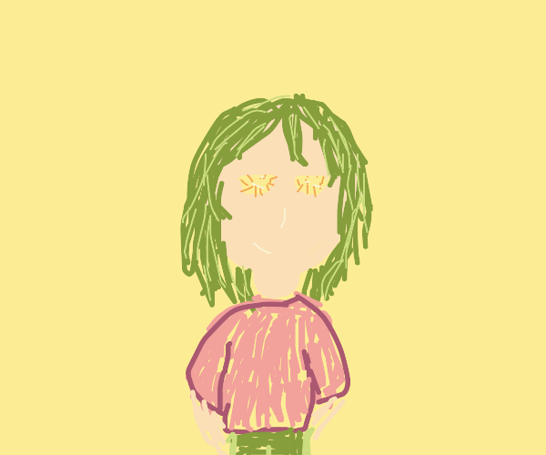 Green haired girl has potstickers for eyes
