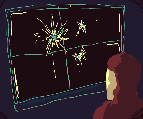 Watching fireworks from my window
