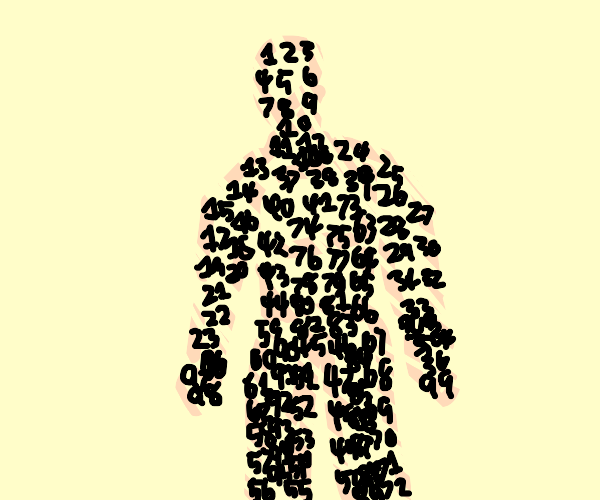 human body made out of numbers