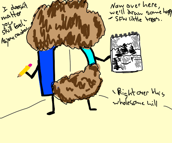 drawception logo as bob ross being wholesome