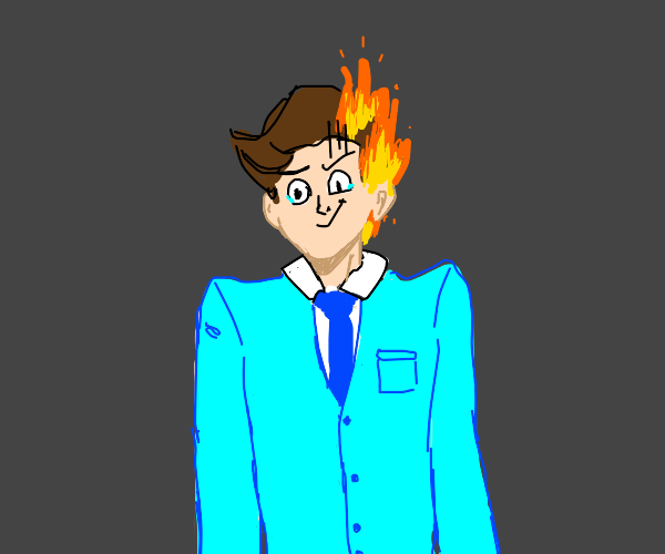 Guy in blue suit with head and ear on fire