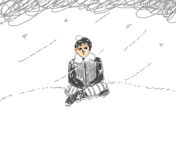 Man sitting outside in a snow storm