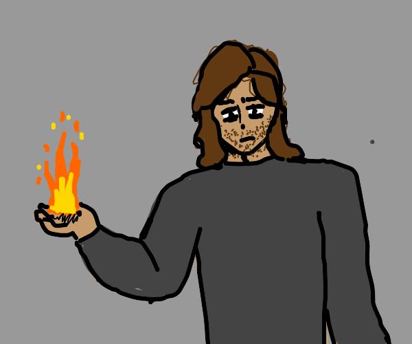 scruffy man creates fire