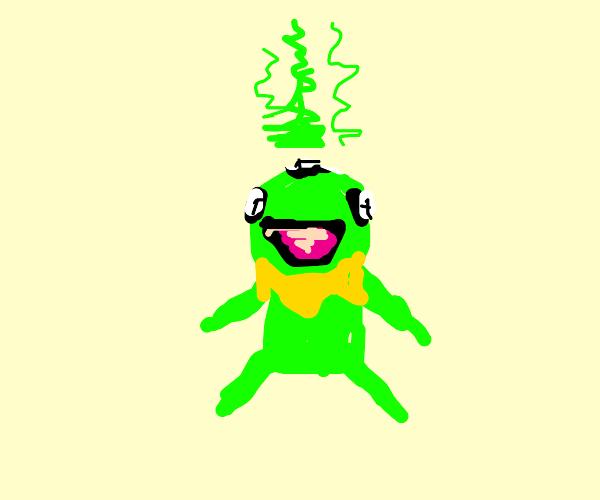 stinky kermit with 3 eyes