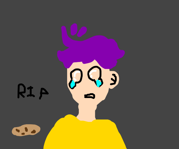 purple haired kid cries over dropped cookie