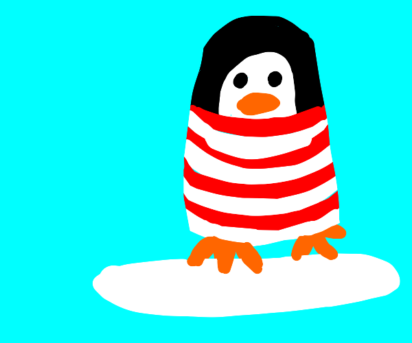 penguin wearing waldos clothes sits on ice