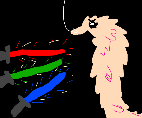 3 Laserswords are aimed at a pink female worm