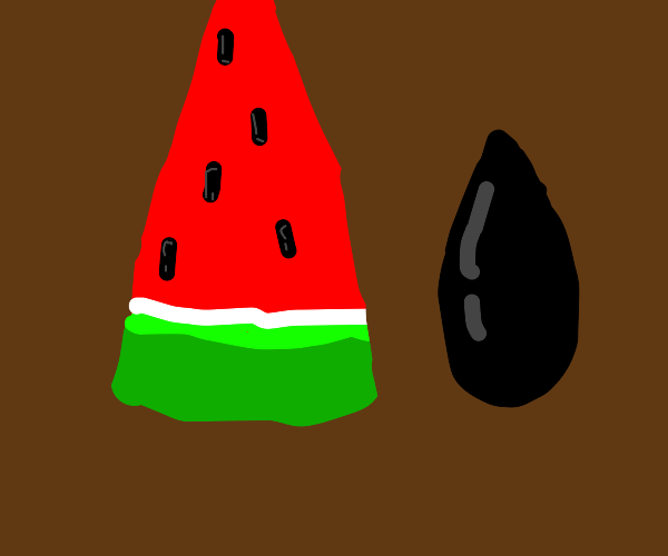 watermelon next to an abnormally large seed